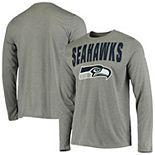 Men's New Era Charcoal Seattle Seahawks Combine 50-Yard Line Long Sleeve T-Shirt