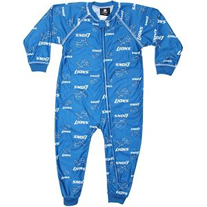 Detroit Lions Toddler Piped Raglan Full Zip Coverall - Light Blue