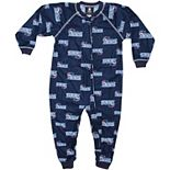 New England Patriots Toddler Piped Raglan Full Zip Coverall - Navy Blue
