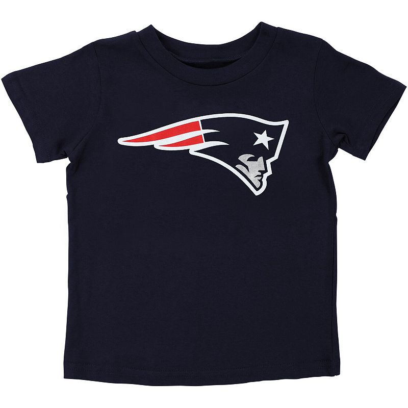 New England Patriots Preschool Team Logo T-Shirt - Navy Blue. Kids Unisex. Size: 4