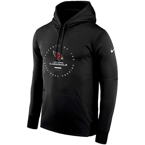 Men's Nike Black Arizona Cardinals Sideline Property Of Wordmark Logo Performance Pullover Hoodie