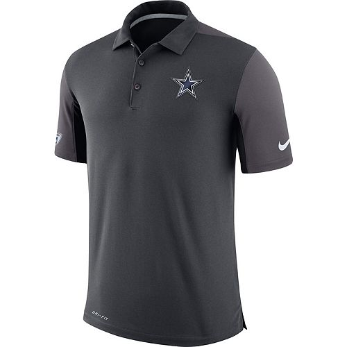 Men's Nike Charcoal Dallas Cowboys Sideline Team Issue Logo Performance Polo