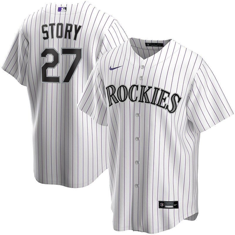 Men's Nike Trevor Story White Colorado Rockies Home 2020 Replica Player Jersey, Size: Large