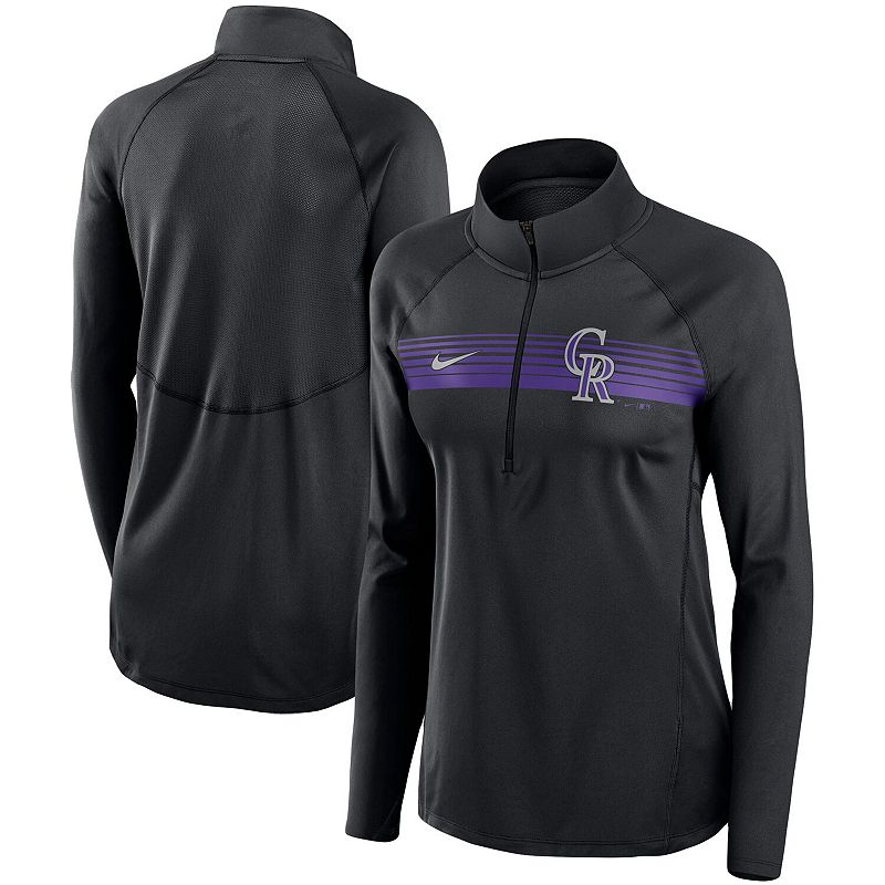Women's Nike Black Colorado Rockies Seam-To-Seam Element Half-Zip Performance Pullover Jacket, Size: XL