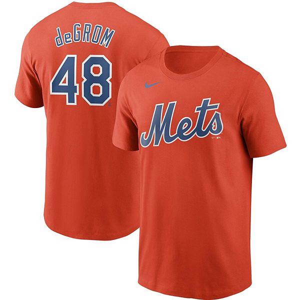 Men's Nike Jacob deGrom Orange New York Mets Name & Number T-Shirt