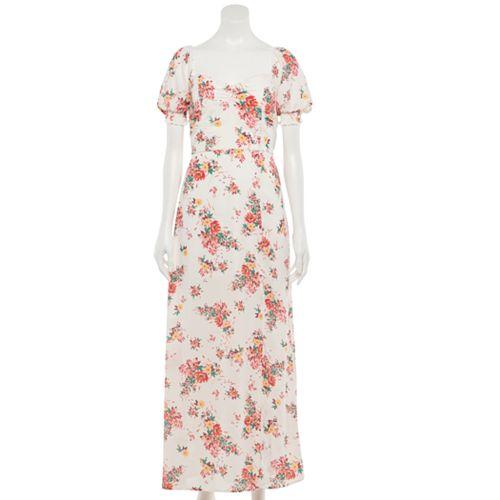 Juniors' Trixxi Puff-Sleeve Maxi Dress
