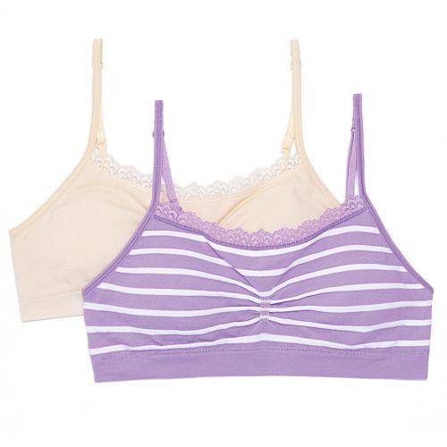 Girls SO® 2-pk. Lace-Trim Cinch Crop Bras