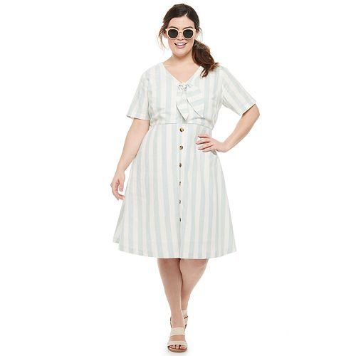 Plus Size EVRI™ Button Front Linen Dress