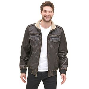 Men's Levi's Sherpa-Lined Stand-Collar Aviator Bomber Jacket