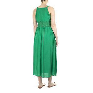 Women's Nina Leonard Crochet Trim Maxi Dress
