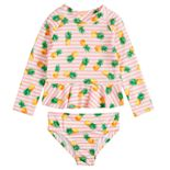 Toddler Girl Penny M 2-Piece Pineapple Rash Guard and Bottoms Swimsuit Set