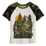 Toddler Boy Jumping Beans® Dinosaurs Camo Short Sleeve Raglan Graphic Tee