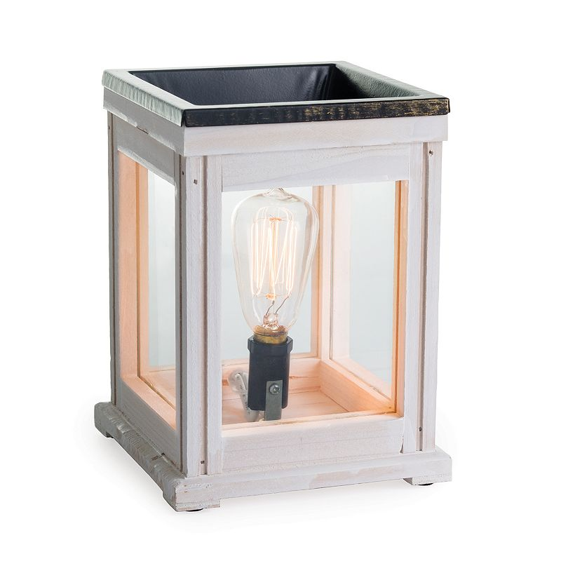 Candle Warmers Etc. Distressed Edison Bulb Illumination Wax Melt Warmer, White