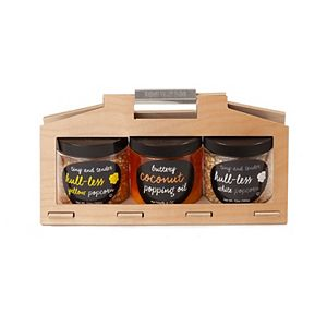 Wabash Valley Farms Hull-Less Popcorn and Oil Wooden Crate Set