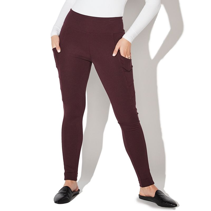Juniors' Vylette Side-Pocket Ponte Leggings. Girl's. Size: XS Long. Red