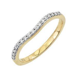 Lovemark 10k Gold Diamond Contoured Wedding Band