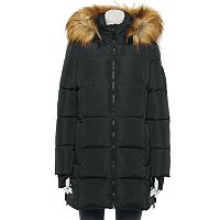 Deals on Juniors Madden Girl Core Faux-Fur Hood Puffer Coat