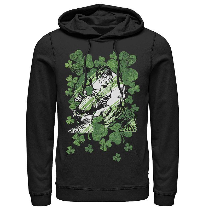 Men's Marvel Hulk Shamrocks St. Patrick's Vintage Hoodie, Size: Medium, Black