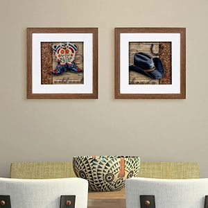New View Wild Boots Cowboy Hat Wall Art 2-piece Set