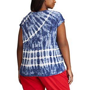 Plus Size Chaps Tie-Dye Knit Top