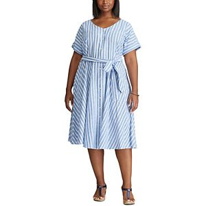 Plus Size Chaps Belted Fit & Flare Dress
