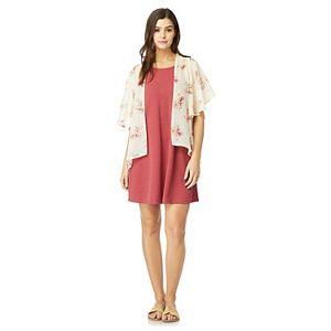 Juniors' WallFlower Swing Dress & Floral Print Kimono Set