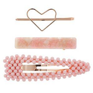 LC Lauren Conrad Pink & Rose Gold Tone Multi Hair Clip Set
