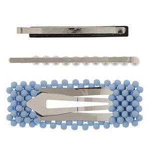 LC Lauren Conrad Blue & Simulated Pearl Multi Hair Clip Set