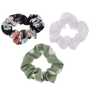 LC Lauren Conrad White, Floral, & Polka Dot Scrunchie Set