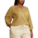 Plus Size Chaps Draped Blouse