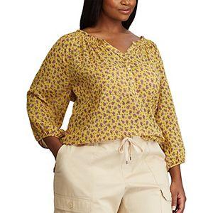 Plus Size Chaps Draped Blouse
