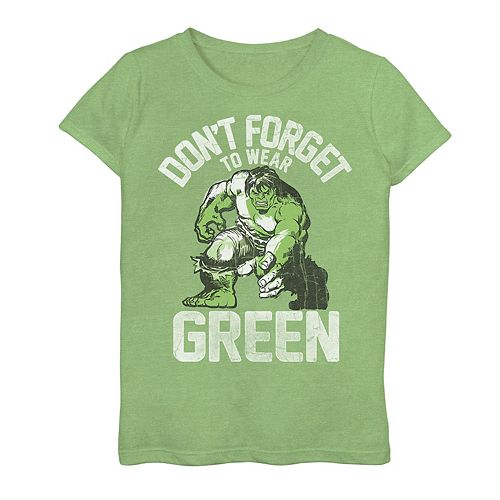 """Girls 7-16 Marvel Hulk """"Don't Forget To Wear Green"""" Tee"""