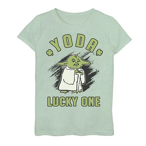 "Girls 7-16 Star Wars Yoda Doodled ""Lucky One"" St. Patrick's Day Tee"