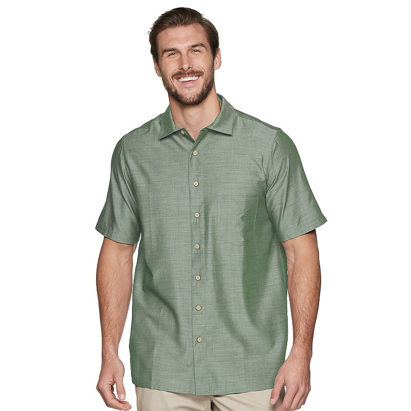 Big & Tall Batik Bay Classic-Fit Solid Slubbed Textured Casual Button-Down Shirt, Men's, Size: 4XB, Green