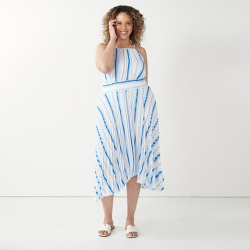 Plus Size Nine West Pleated Halter Dress