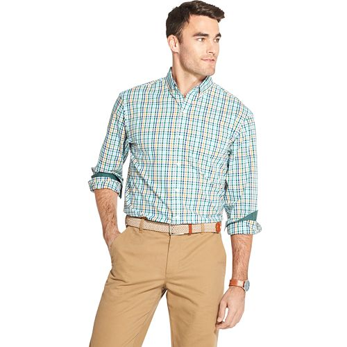 IZOD Mens CLEARANCE Button Down Long Sleeve Stretch Performance Check Shirt