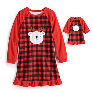 Girls 4-16 Jammies For Your Families® Cool Bear Plaid Gown & Doll Dress Set by Cuddl Duds