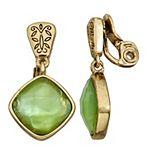 Napier Green & Gold Stone Drop Clip-On Earrings