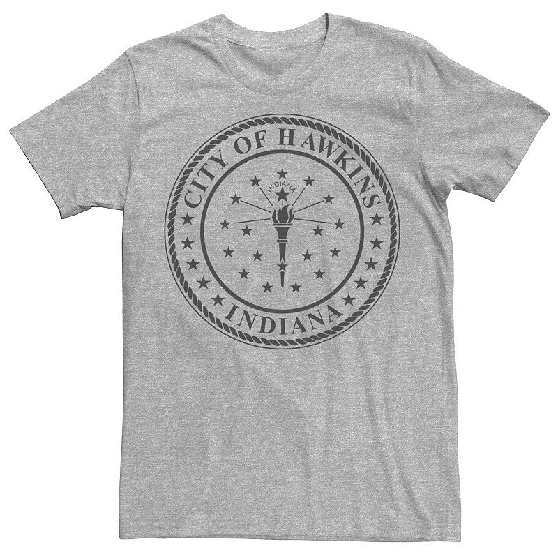Men's Netflix Stranger Things City Of Hawkins. Indiana Crest Tee. Size: Small. Med Grey