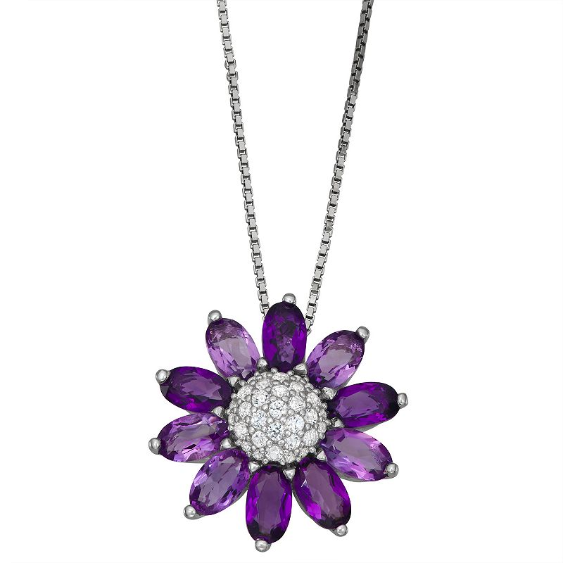"""Sterling Silver Amethyst & Lab-Created White Sapphire Flower Pendant Necklace, Women's, Size: 18"""", Purple"""