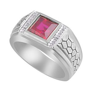 Men's Sterling Silver Lab-Created Ruby & Diamond Accent Ring
