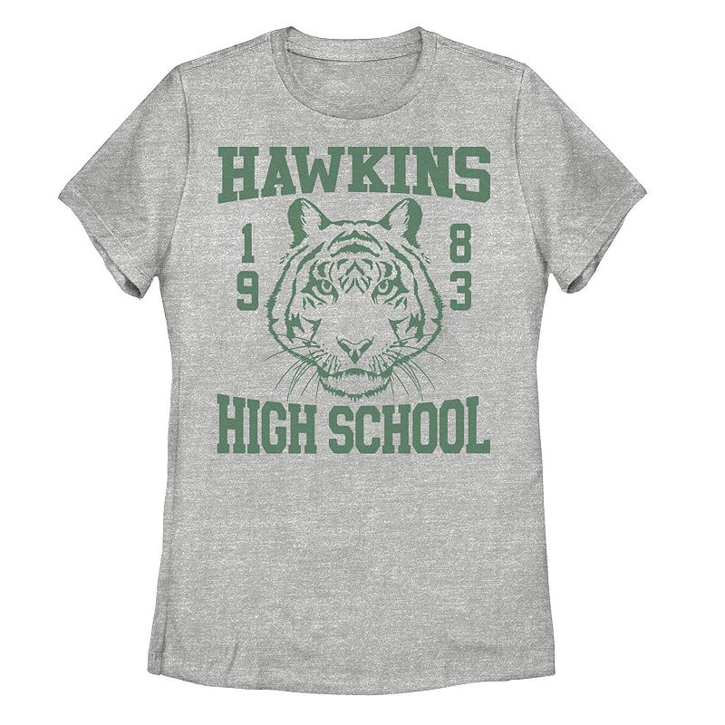Juniors' Stranger Things Hawkins High School Tiger Graphic Tee, Girl's, Size: XXL, Grey