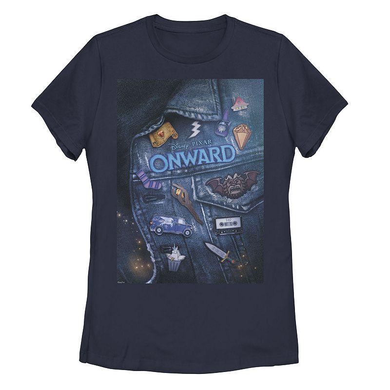 Juniors' Disney / Pixar Onward Barley Vest Patch Graphic Tee, Girl's, Size: Medium, Blue