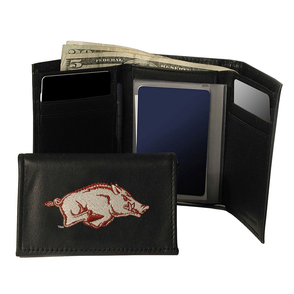 University of Arkansas Razorbacks Trifold Leather Wallet