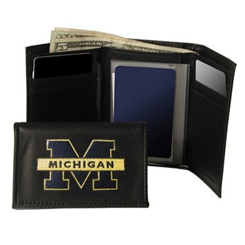 University of Michigan Wolverines Trifold Leather Wallet