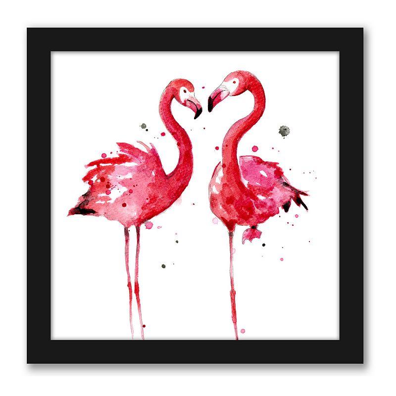 Americanflat Pink Flamingos Wall Decor. Multicolor. 12X12