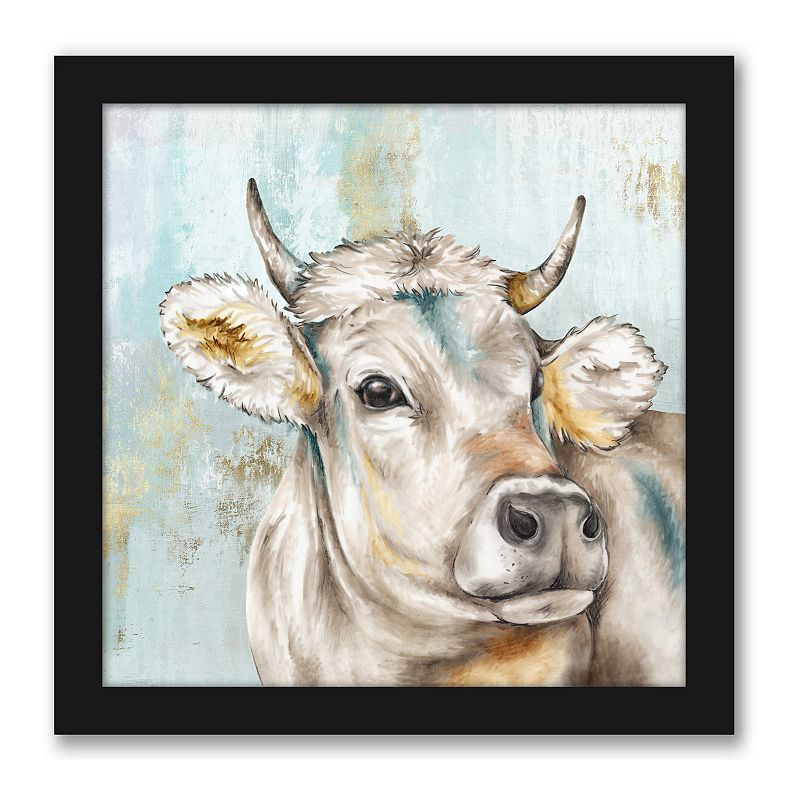 Americanflat Headstrong Cow I Wall Decor. Multicolor. 12X12