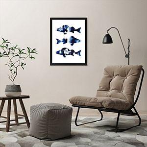 Americanflat Navy Fish Framed Wall Art