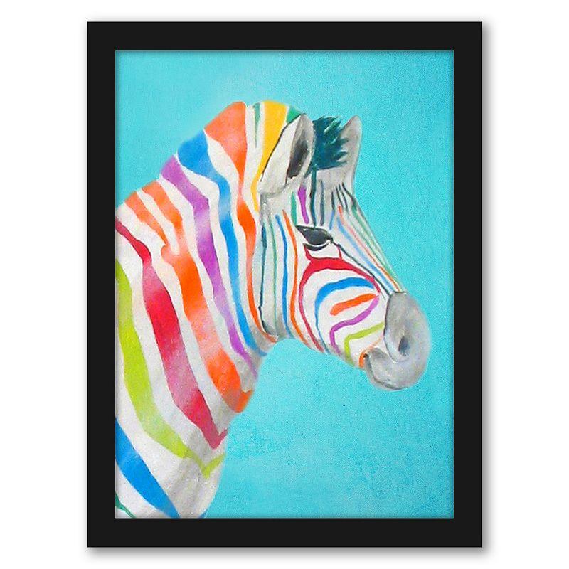 Americanflat Rainbow Zebra Head Wall Art by Coco de Paris, 12X15