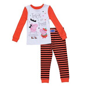 Toddler Girl Peppa Pig Striped Halloween Pajama Set